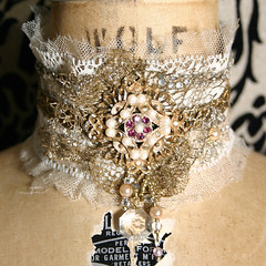 Elegant Victorian Inspired Antique Lace Choker with Rhinestone Trim and Brooch | by louiseblack
