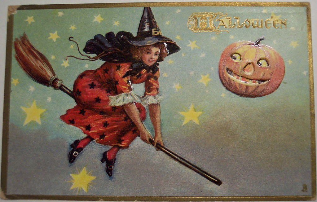 vintage halloween postcard tuck 183 witch on broom by riptheskull - Vintage Halloween Witches