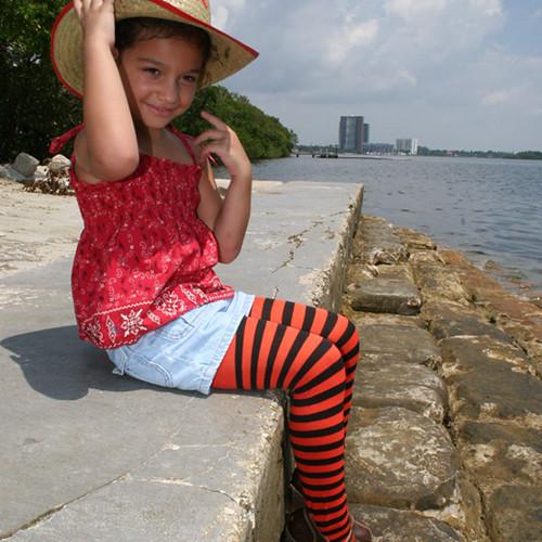 Kids Striped Tights Halloween Tights  Sophia In -9224