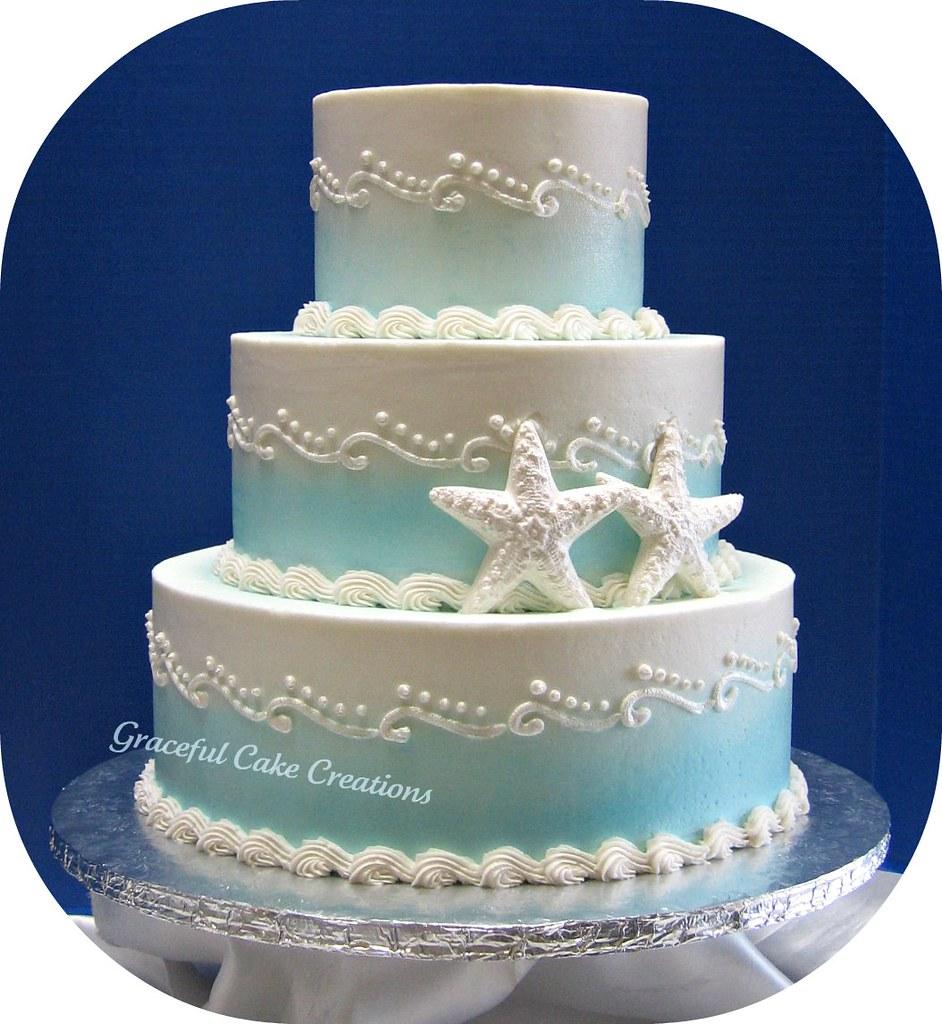 Beach Themed Wedding Cake   Grace Tari   Flickr