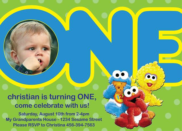 Sesame Street Babies Beginnings Custom Birthday Invitation