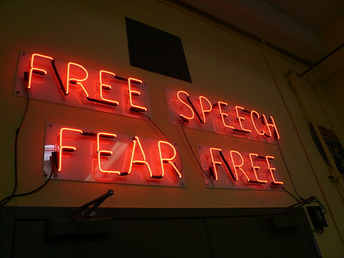 "FREE SPEECH FEAR FREE ""Patriot Act"" light-sculpture at Prelinger Archive, San Francisco, CA.jpg 