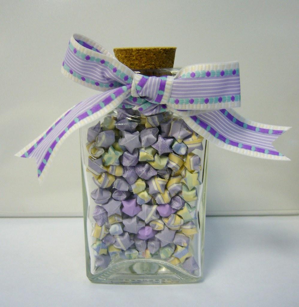Lavender N Cream Origami Lucky Star Jar