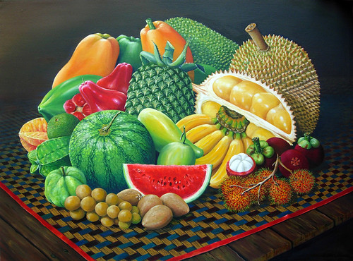 Tropical Fruits - Original Oil Painting | by wizan