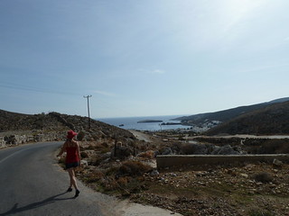 Walking back from town, 2km away, with supplies, to Varda Bay Studios in Folegandros | by aussieontour