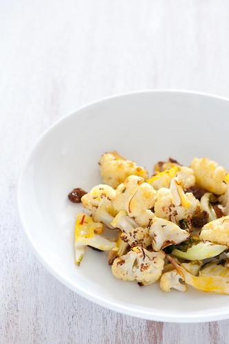 roast cauliflower with saffron & pinenuts | by jules:stonesoup