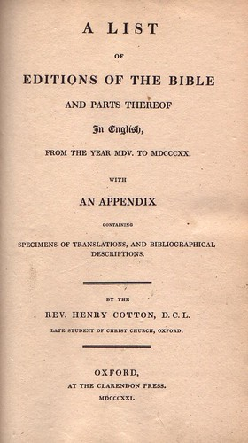 Cotton Bibliography Title 1852 | by bible_wiki