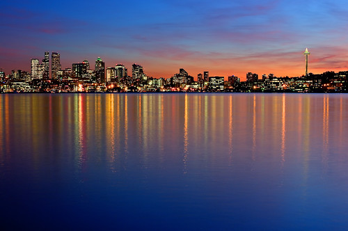 Seattle Reflection At Sunset | by Surrealize