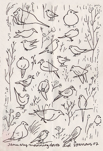 "Lynda Barry, ""January Mourning Doves and Sparrows"" 