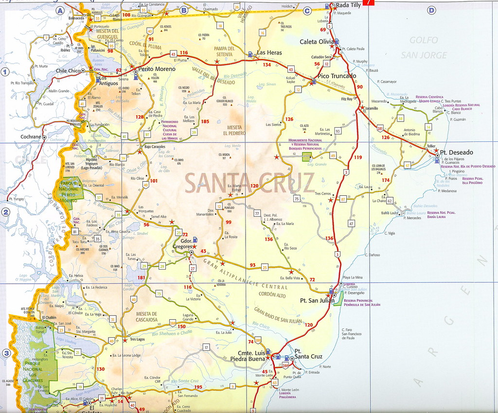 Mapa rutas argentinas Provincia de Santa Cruz Argentina Flickr