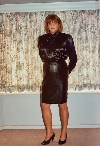 Leather Skirt 1A  Leather Skirt And Satin Blouse -4684