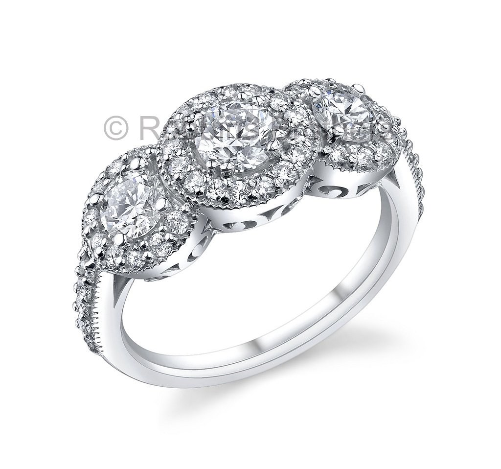 Robbins Brothers 3 Stone Halo Diamond Engagement Ring  By Robbins  Brothers