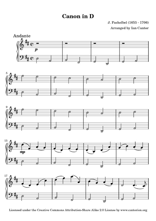 Pachelbel's Canon in D - Free Sheet Music for Piano | Flickr