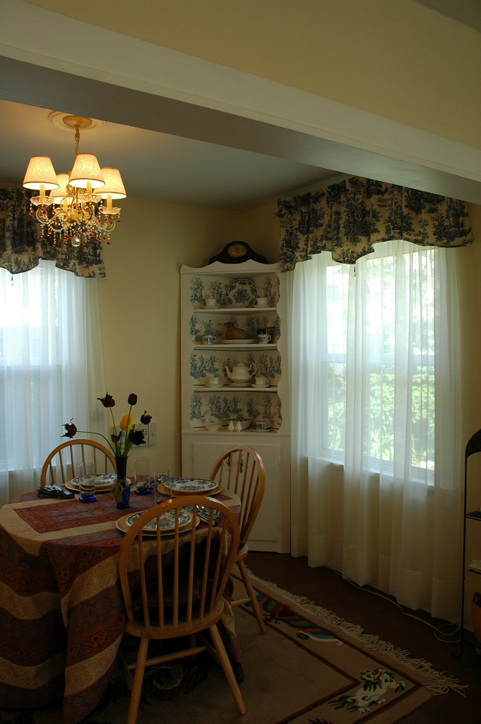 Dining Room Makeover Fresh Paint White Trim Toile Curtains Cream Sheers