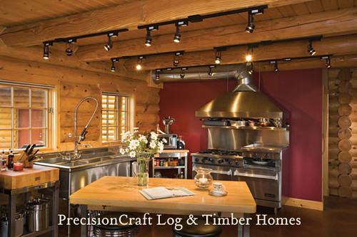 Custom Kitchen in a Milled Log Home | Located in Maine | by PrecisionCraft Log Homes | by PrecisionCraft Log & Timber Homes