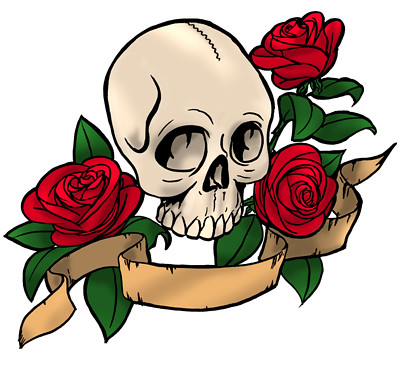 skull and roses color by joe_13 - Coloring Pages Roses Skulls