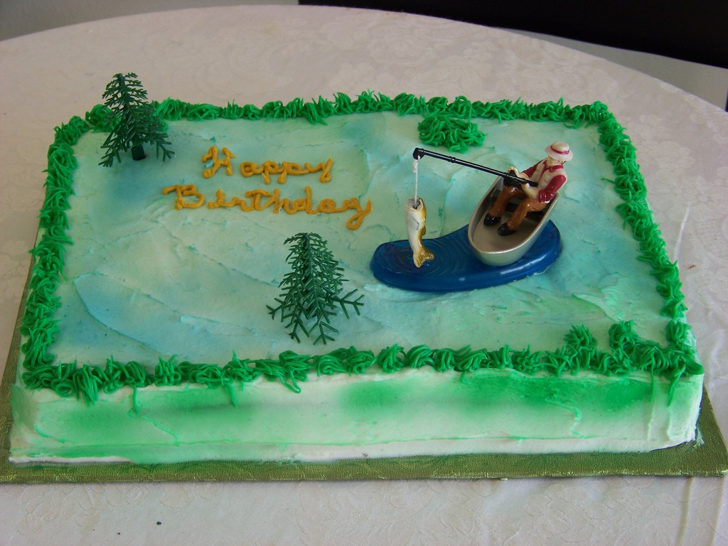 Fisherman Birthday Cake A 12 Sheet Cake Covered In White Flickr