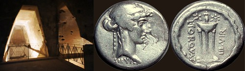 411/1 coin of Torquatus showing a Tripod and the ageless Sibyl, priestess of Apollonian oracle, and the inner cave of the Sibyl at Cumae | by Ahala