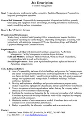 Facilities Manager Job Description  Facility Manager Job Description