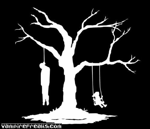 Man Hanging From Tree While Child Swings