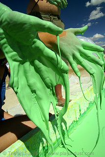 DSC00614 - burning man 2007 - Oobleck, a non-newtonian fluid made with cornstarch and water | by loupiote (Old Skool) pro