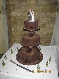 Rich Chocolate Cigarello Rose Wedding Cake