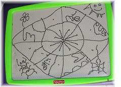 4yo's EtchASketch of Spiderweb, flower, ant butterfly and sun | by PlayVentura