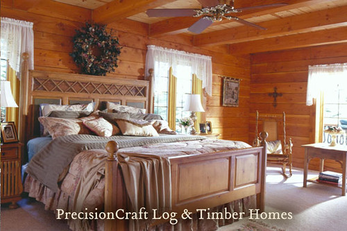 ... Bedroom In A Custom Designed Milled Log Home | Located In California |  By PrecisionCraft Log