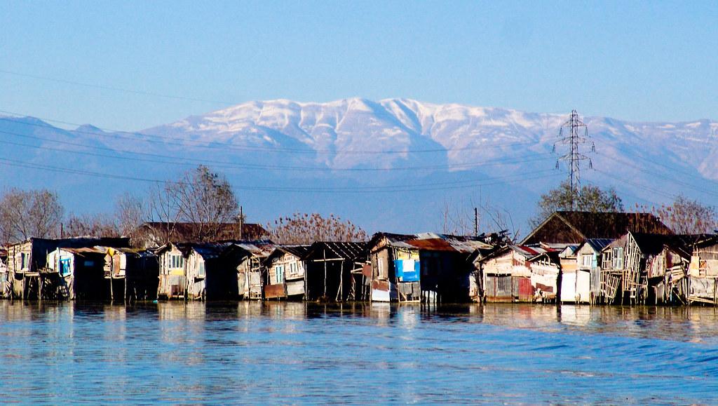The huts of fishermen on the Caspian sea shore