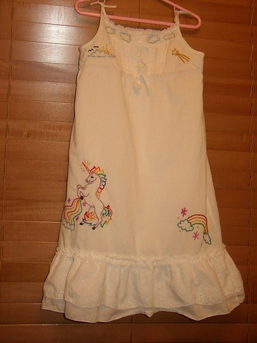 Unicorns and Rainbows Embroidered Dress Front | by average_jane_crafter