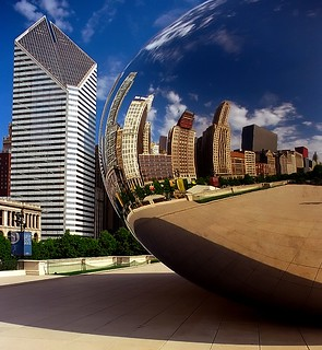 "Chicago - Cloud Gate(The Bean) & Stone Container Building ""City Reflection"" 