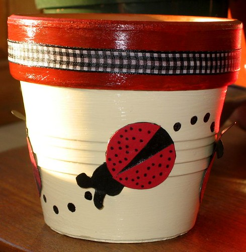 Ladybug Flower Pot This 5 Inch Pot Is Painted And Is