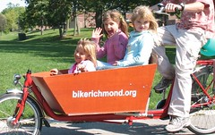 three happy girls in a cargo bike | by Mark Stosberg