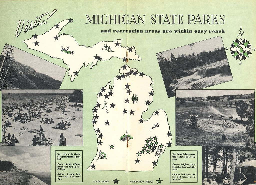 1950 S Vintage Michigan State Park Map Don The Upnorth Memories