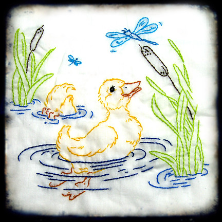 Little Duckling With Dragonfly Embroidery For Baby Quilt I Flickr