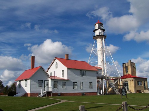 Whitefish point lighthouse overlooking whitefish bay on la for White fish point
