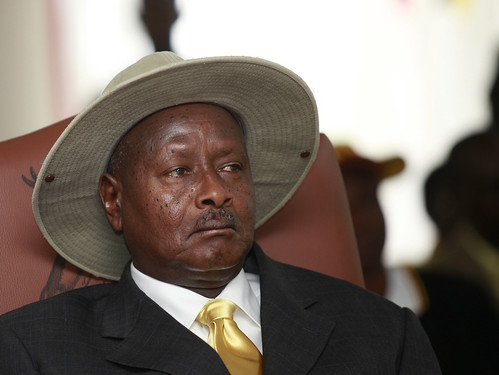 President Museveni listen attentively to EC Badru speech during nomination | by James' Photography