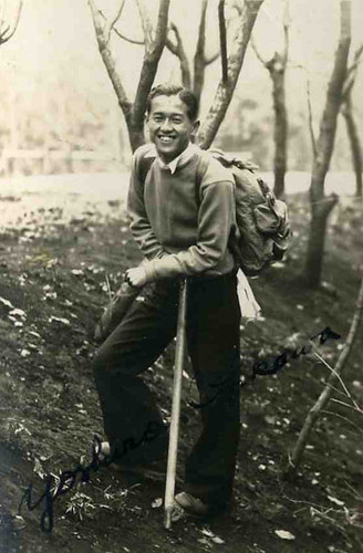 Vintage Japanese Photo - Outdoor Man with Backpack | by softypapa