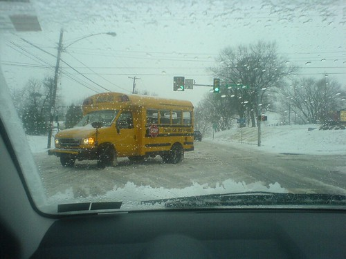 School Bus in Snow on Germantown Ave | by jimmyrocks