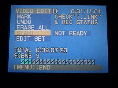 """Firewire Fail"" Video Edit screen of Sony DCR-TRV350 