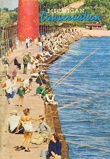 Michigan fishing conservation magazine 1961 pier fishing for Harrison fishing pier