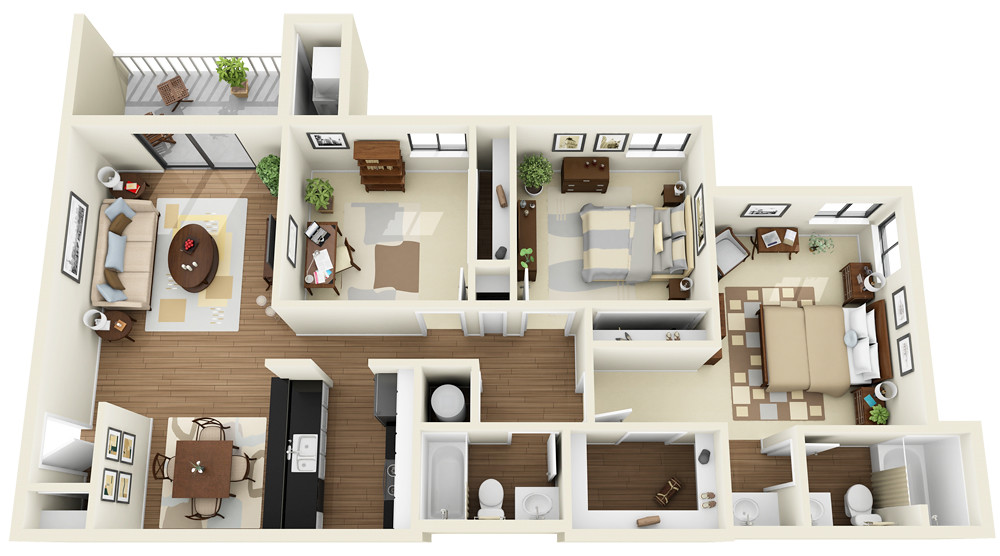 3bedroom 2bath 3d Floor Plan