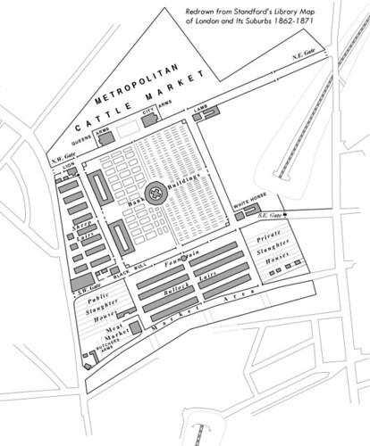 diagram of the metropolitan cattle market  islington  redr