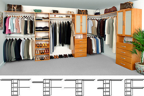 ... SolidWoodClosets Closet Organizer   Walk In   Maple Spice With Drawers  And Glass Doors | By SolidWoodClosets