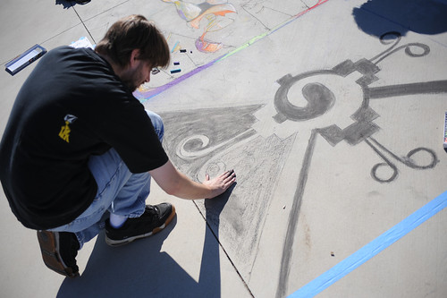 CI student drawing at Broome Library's 2008 Artwalk | by California State University Channel Islands