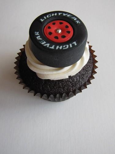 Race Car Tire Cupcake | Chocolate cupcake filled with ...