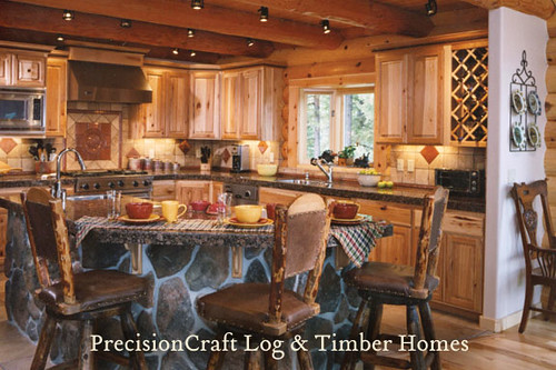 Kitchen in a custom log home located in idaho precisio for Custom rustic homes
