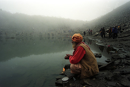 Sadhu-doing-Aarti-with-Lamp-at-Roopkund | by Nick Fleming Photographer