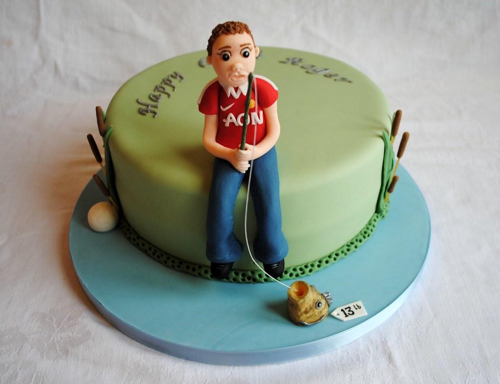 Fishing Man U Themed Birthday Cake wwwthecustomcakeshopc Flickr