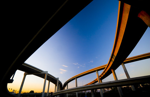 soaring ramps of the harbor freeway interchange | by gsgeorge